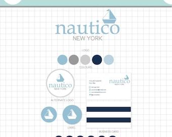 LOGO BRANDING SET - Nautico - Business Card, 2 logos, Sticker, Icons, Avatar