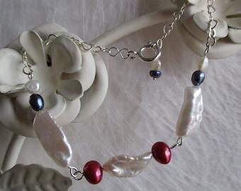 Pearls on sterling silver heart chain bracelet