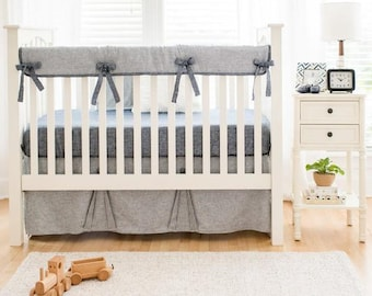Navy Washed Linen Indigo Stripe Baby Bedding Set