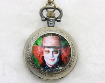 V1 Necklace Pocket watch mad Hatter, alice 2525M