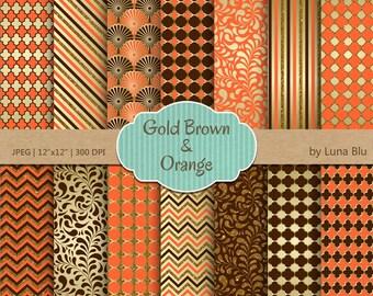 "Orange Brown and Gold Digital Paper: ""Orange and Brown Patterns"" scrapbook paper, glitter gold digital paper, scrapbooking, cardmaking"