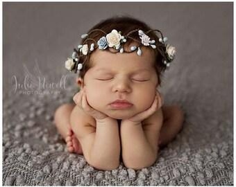 Quinn Mini Newborn Floral Crown • Newborn Crown Prop • Whimsical Crown • Grapevine Floral Crown • Petite Floral Crown | Ready To Ship