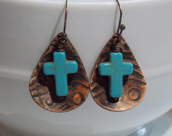 Turquoise cross hand embossed earrings. turquoise earrings, cross earrings, embossed earrings, copper earrings, faith earrings, earrings