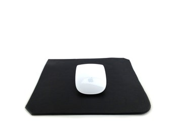 Leather Mouse Pad Black, Mighty Mouse, Magic Mouse, Mousepad, Handmade in London