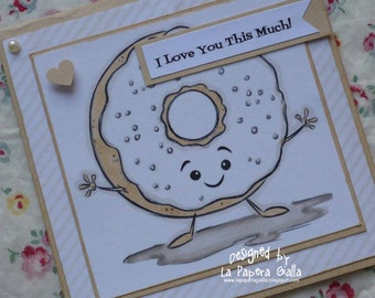 I Love You This Much - Handmade blank greeting card with sweet donut