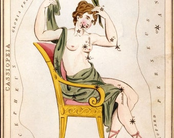 Cassiopeia constellation card from 1824 Urania's Mirror facsimile reproduction print