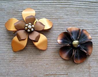 Vintage Copper Floral Flower Pin Brooch Pair, Copper Flower Pin Set, Copper Flowers for Brooch Bouquet, Floral Pin Set, Copper Brass Flower