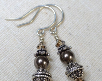 Swarovski brown and dark topaz crystals and pearls Balinese sterling silver drop earrings Wedding Dressy Casual everyday wear silver jewelry