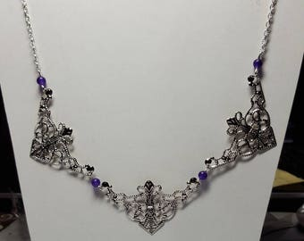 Choker necklace 3 prints filigree and Amethyst