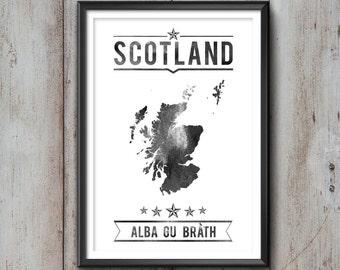 SCOTLAND Typography Print, Scotland Poster, Scotland Wall Art, Scotland Gift, Scotland Decor, Scotland Print, Scotland Map, Scottish Decor