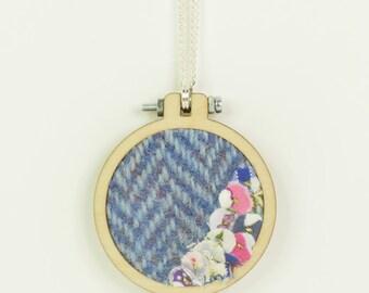 Bright Blue Harris Tweed Mini Embroidery Hoop Necklace, Harris Tweed, Miniature Embroidery Hoop, Embroidery Hoop Necklace, Upcycled Fabrics