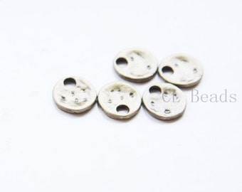30pcs Antique Brass Tone Base Metal Textured Tags-Round 12mm (11689Y-E-555)