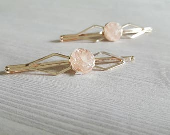 Rose Gold Hair Pin Millennial Pink Bridal Hair Accessories Art Deco Wedding Pink Hair Clip Bobby Pins Bridal Hair Pins Rose Quartz