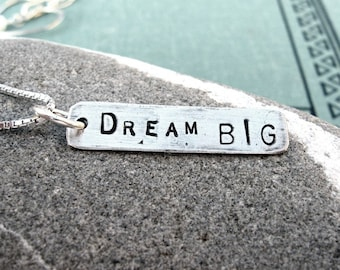 Custom Text Box Tag- sterling silver necklace