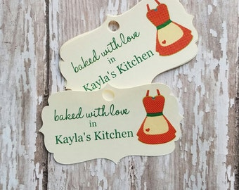 Baked with Love Tag, From My Kitchen to Yours, Rolling Pin, Christmas Baked Goods, Baked Goods, Food Label, Jar Tag, Jar Label, Apron (100)