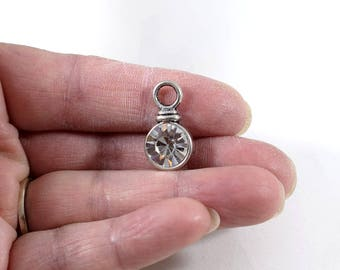 Silver Crystal Pendant, Antique Silver Pendant, Silver Plated Pendant