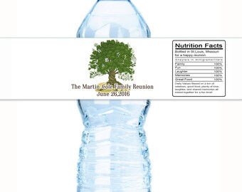 30 Family Reunion Water Bottle Labels - Family Reunion Decor - Family Reunion Favors - Reunion Decor - Family Tree - Bottle Wraps