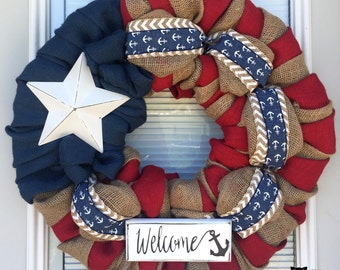 4th of July Wreath-Fourth of July Wreath- Red White and Blue Burlap Wreath- Anchor 4th of July Wreath- Patriotic burlap wreath- Welcome Sign