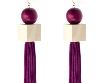 Dangle Tassel Earrings, Geometric Tassel Earrings, Modern Bead Earrings, Bead Tassel Earrings, Lightweight Earrings, Fashion Earrings