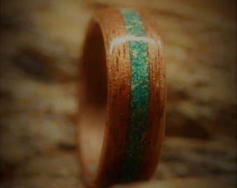Bentwood Ring - handmade - Turquoise Stone - Black Walnut - custom - Anniversary -Birthday gift - Wedding Band