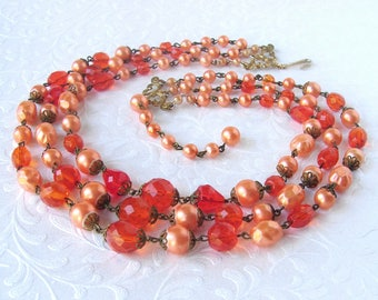 Vintage Coro Orange Beaded Necklace Crystal Faux Pearl Peach Beads Halloween Wedding Costume Jewelry Multi Strand Stage Theater MOG MOB MOH
