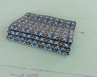 Everyday Cloth Napkins, Set of 4, Blue/Brown, Ivory, Green Medallion Tile