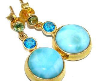 Larimar, Blue Topaz, Peridot Sterling Silver Earrings - weight 7.00g - dim L- 1, W- 1 2, T- 3 8 inch - code 1-cze-17-68