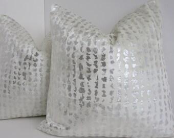 P/Kaufmann fabric-Cream Silver Velvet Pillow - Cream Velvet Pillow- Animal Print Pillow Cover- Metallic Pillow Cover- Cream Metallic Pillow