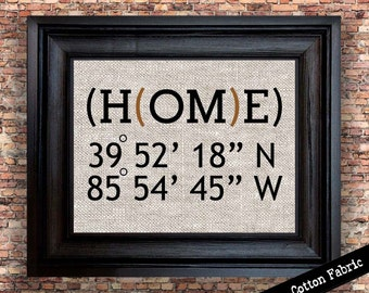 Latitude Longitude Print | Personalized Family Housewarming Gift | Cotton Print | Gift for Couple | New Apartment | Real Estate Closing Gift