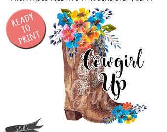 Cowgirl Up Boots- INSTANT DOWNLOAD - PDF Printable - Boot with Flowers