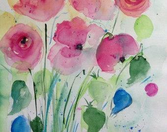 Original watercolor watercolor painting flower flowers Watercolor flowers Water colors