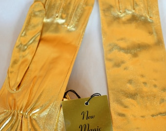 Vintage 1960s Women's Gold Lame' KAYSER GLOVES Elbow Length Gloves w Orig Tag, Never Worn.  Size M.  New Magic Glamour by Kayser.  Made USA.