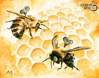 Just Like Honey: Fine Art Watercolour Clockwork Bee Print