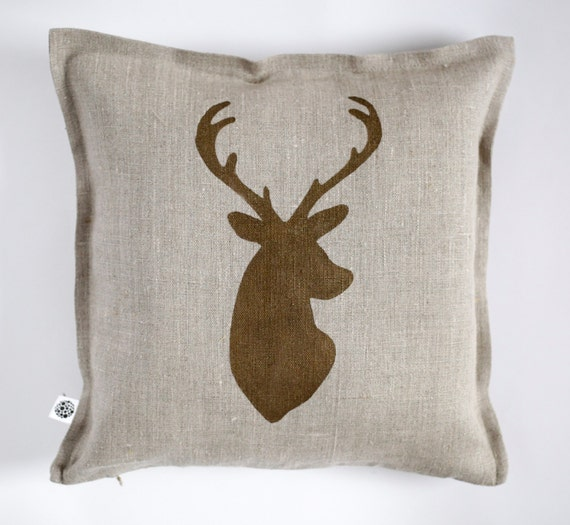 Deer head cushion for man cave, hunting decor with deer cushion, custom pillow for rustic decor 0420