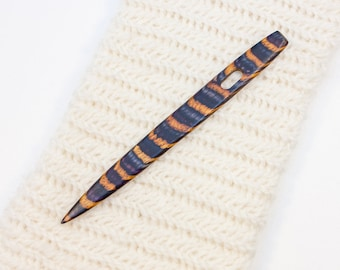 Nalbinding Needle with Large Eye - Purple and Yellow Striped Wood - W244