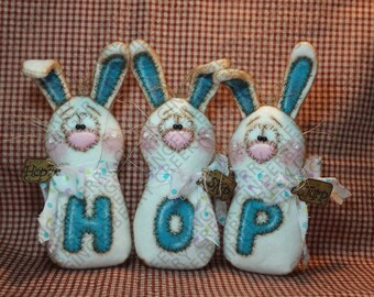 E-Pattern - Going to the Bunny Hop Pattern #259 - Primitive Doll E-Pattern - Easter - Spring - Bunny - Rabbit - Hop - Skip - Jump - Whimsy