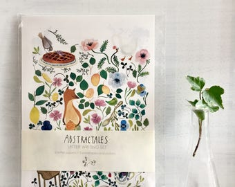 Letter set, letter writing set, with watercolour illustration of fox in the meadow, bird and animal stationery