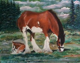 "GRAZING HORSES handmade oil painting 20""x16"""
