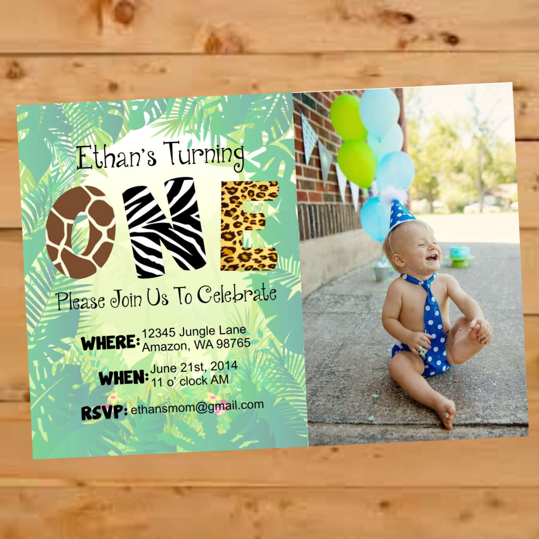 Jungle Themed Birthday Invite Jungle Birthday Invitation