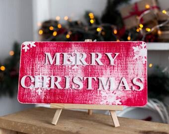 Merry Christmas Sign, Christmas Decor, Wooden Merry Christmas Sign, Rustic Merry Christmas Sign, Rustic Christmas Sign,  Christmas Sign