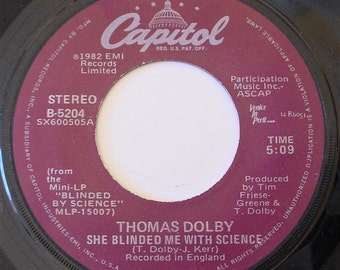 """Thomas Dolby - She Blinded Me with Science b/w Flying North, 7"""" 45rpm Vinyl Record Single, 1982, Capitol B-5204"""
