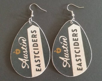 Repurposed Cardboard Craft Beer Coaster Earrings Austin Eastciders - Craft Cider