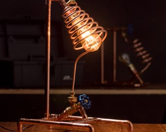 Copper Pipe Lamp With Valve Switch Steampunk Desk LED