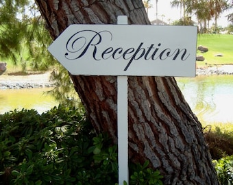 ReCepTioN SiGn - Large DiReCTioNaL WeDDiNg SiGnS - CLaSSiC StyLe - Custom Wedding Arrow - 4ft Stake - 20 X 7 - Distressed Ivory