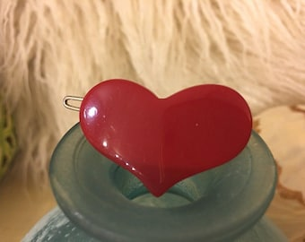 Vintage Red Heart Shaped Hair Barrette