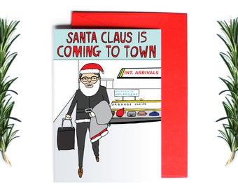 Christmas Card - Santa Claus Is Coming To Town - Melbourne Christmas Card | Greeting Card | Holiday Card