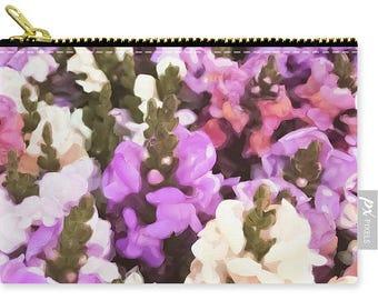 Snap Dragon Zipper Pouch,Handbag,Beautiful Carry All Pouch,Clutch,Cream Pink Purple Floral Pouch,Small Medium Large,Coin Purse,Makeup Bag