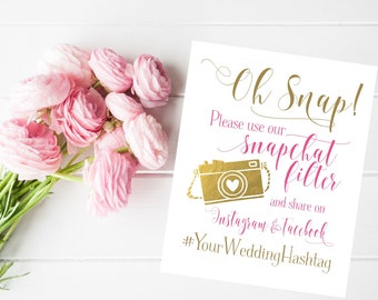 Wedding Sign | Social Media Share for Snapchat Instagram and Facebook | Snapchat Filter Wedding Sign | Quick Turnaround DIY Printable