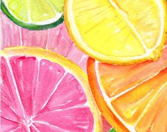 Citrus Watercolors Paintings Ruby Red Grapefruit, Lemon, Orange, Limes original, Watercolor Painting,  Fruit ART, 5 x 7, kitchen decor