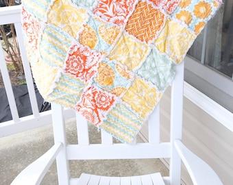 Baby Rag Quilt- Ready to ship Rag Quilt, orange rag quilt, aqua rag quilt, , yellow rag quilt, baby shower gift, baby girl rag quilt